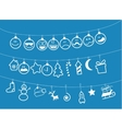 drawn christmas toys that hang on strings vector image