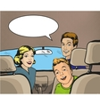 Family sitting in the car looking back vector image vector image