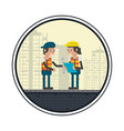 geometric workers cartoons vector image vector image