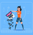 girl hold laptop with thumb down modern video vector image vector image