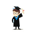 happy graduate holding a book and diploma vector image