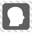 Head Profile Rounded Square Button vector image