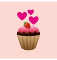 heart cartoon cupcake chocolate pink cream and vector image vector image