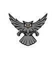 horned owl swooping front mascot vector image vector image