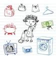 Housewife doodle set vector image vector image