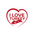 i love turkey vector image