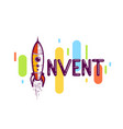 Invent word with rocket launching instead of