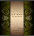 invitation card in green with gold ribbon vector image vector image