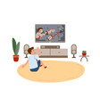 kid boy sitting on round carpet and watching vector image vector image