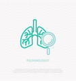 lungs with magnifier thin line icon vector image