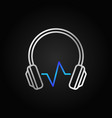 modern silver headphones with blue sound wave vector image vector image
