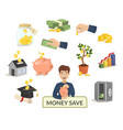 money save concept money icons for finance banking vector image vector image