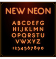 Neon Font Type Alphabet Glowing in With Numbers vector image vector image
