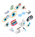optometry icons set isometric 3d style vector image vector image