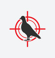 pigeon silhouette icon red target vector image vector image