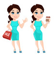 pretty woman in vibrant dress holding coffee and vector image vector image