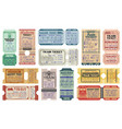 retro railway train tickets us america travel vector image vector image