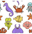 seahorse and crab jellyfish and seaweed cartoon vector image