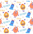seamless pattern cute scary halloween vector image vector image