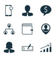 Set of 9 management icons includes messaging vector image