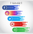 set popular social media icons template banner vector image vector image