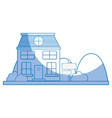 silhouette house next to mountains and trees vector image vector image