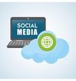 Social media design laptop icon networking vector image vector image