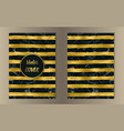 stripe gold and marble cover set vector image