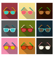 Sunglasses icon with long shadow flat design