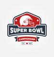 super bowl championship logo sport design vector image