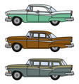 three old big american cars vector image