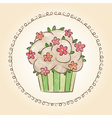 watercolor cupcake with flowers and leaves vector image