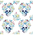 Watercolor skull pattern vector image vector image