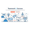 web site header - teamwork and success vector image
