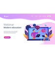 webinar and modern education landing page vector image