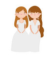 wedding brides women in elegant dress cartoon vector image vector image