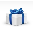 White Gift Box with Blue Ribbon Isolated vector image
