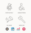 wrench key oil change and fasten seat belt vector image vector image