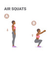 afro-american girl doing air squats exercise home vector image