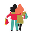 back view female shoppers carrying vector image