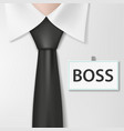 badge with the inscription boss on a white shirt vector image vector image