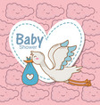 bashower stork diaper blue heart sticker clouds vector image