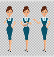 businesswoman in formal wear and different poses vector image