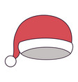 christmas cap santa claus on colorful silhouette vector image