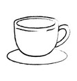 cup of coffee with handle on dish monochrome vector image vector image