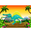 dinosaur cartoon in the jungle vector image vector image