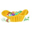 Easter eggs in a wicker basket on the grass vector image vector image