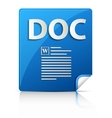 Embossed DOC file type icon vector image