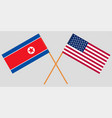 flags north korea and usa on gray background vector image