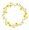 floral circular wreath decoration with yellow vector image vector image